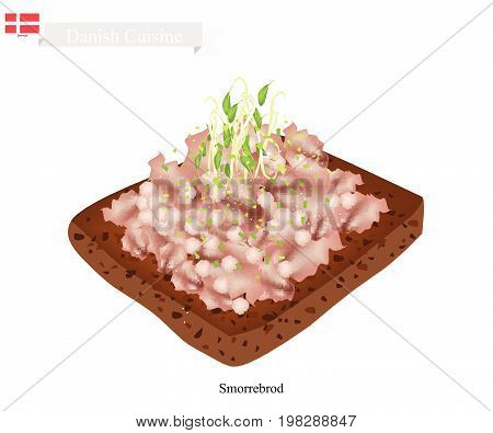 Danish Cuisine, Illustration of Smorrebrod or Traditional Buttered Rye Bread or Dark Rye Bread Topped with Raw Lean Beef Mince with Salt and Pepper. The National Dish of Denmark.