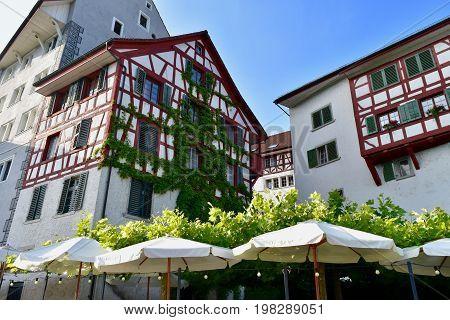 Eglisau, Bülach,  Rhein, Switzerland,  Hirschen, timbered house, half-timbered house, village,