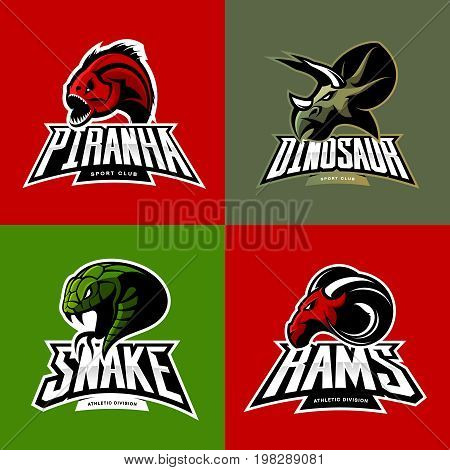 Furious piranha, ram, snake and dinosaur head sport vector logo concept set isolated on color background.  Modern team mascot badge design. Premium quality wild animal t-shirt tee print illustration