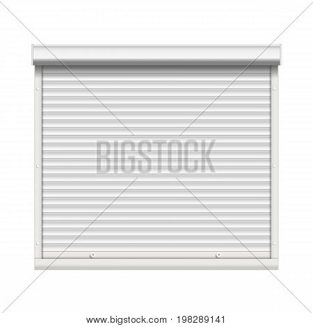 Window Roller Shutters Vector. Opened And Closed. Realistic Window, Door, Garage Rolling Shutters Isolated On White Illustration.