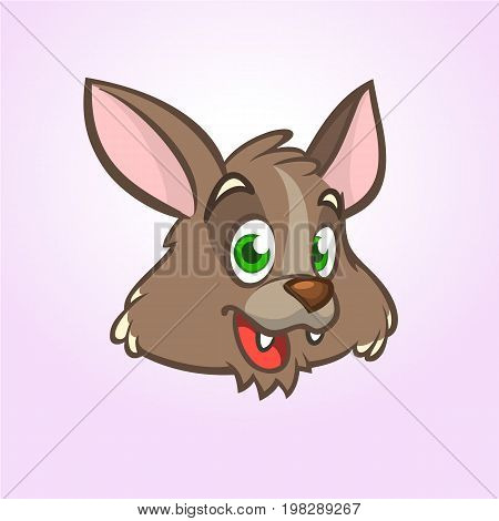Cool cartoon wolf head or werewolf. Icon. Vector illustration isolated