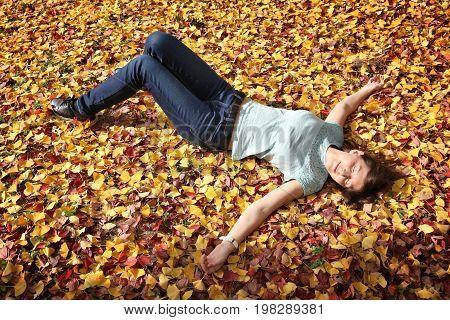 Woman enjoys yellow autumn ginkgo tree leaves in Osaka Japan.