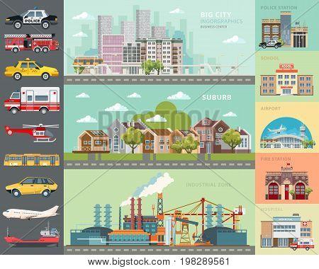 Big city concept. Infrastructure vector set. Flat design