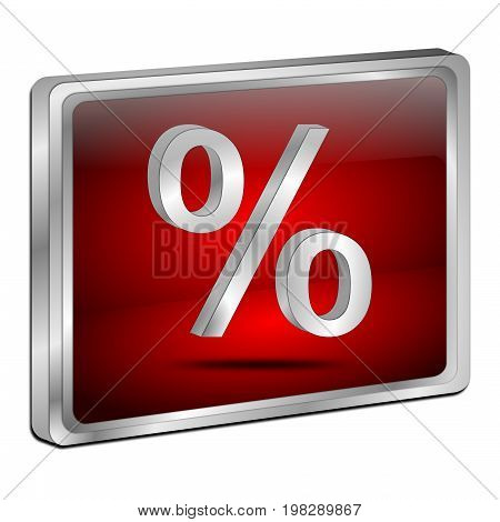 decorative red Discount button - 3D illustration