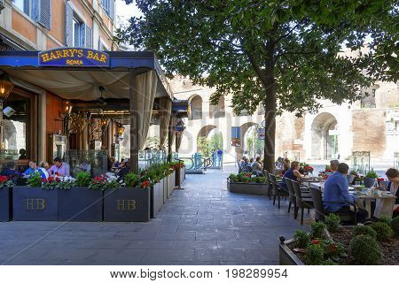 Rome Italy march 25 2017: consumers and tourists relaxing at famous Harry's Bar in Via Veneto Rome Italy