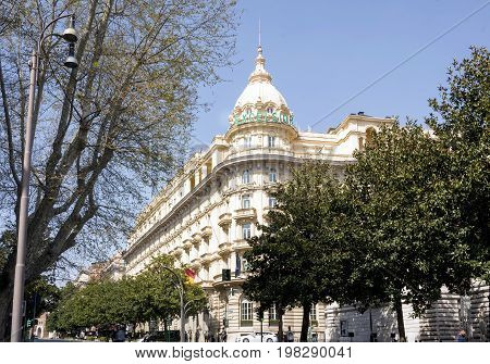 Rome Italy march 25 2017: Exterior tower of the Grand Hotel Excelsior located in the famous Via Veneto in Rome Italy