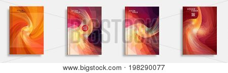 Annual report set for business brochure. Colorful vector covers with titles, graphics and space for text. Annual report design template, flyer vector, leaflet cover layout. Abstract background.