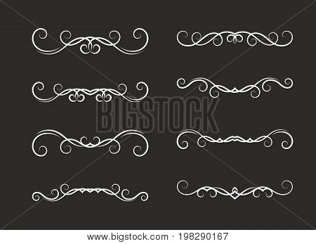 Set of hand drawn vignettes in retro style on black background. Elegant vintage calligraphic borders and dividers for greeting card, retro party, wedding invitation. Vector illustration.