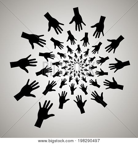 Swirl, Vortex Background. Rotating Spiral. Hands, Share, Sales, Desire, Grab, Man, People, Fingers,
