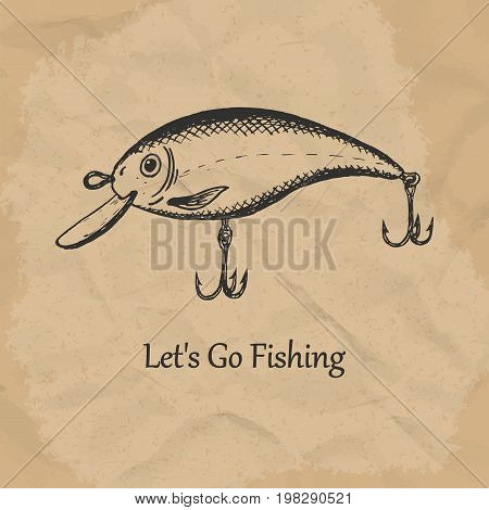 Illustration of spinning lure wobbler. Vector illustration