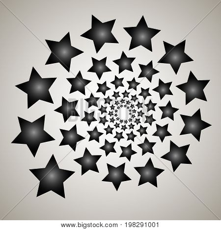 Swirl, Vortex Background. Rotating Spiral. Pattern Of A Whirling Of Hearts. Icon, Stars, Star, Outli