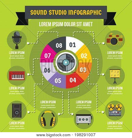 Sound studio infographic banner concept. Flat illustration of sound studio infographic vector poster concept for web