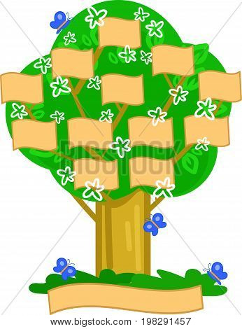 Genealogical cartoon tree in spring, vector illustration