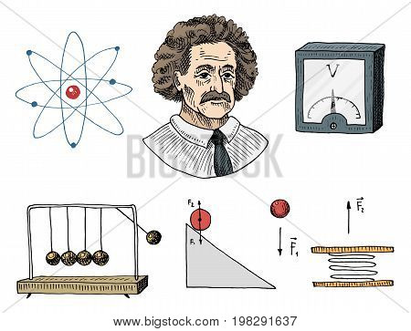 Atom and voltmeter with perpetual motion, circuit and graph. engraved hand drawn in old sketch and vintage symbols. calculations physics Back to School Elements of Science and laboratory experiments