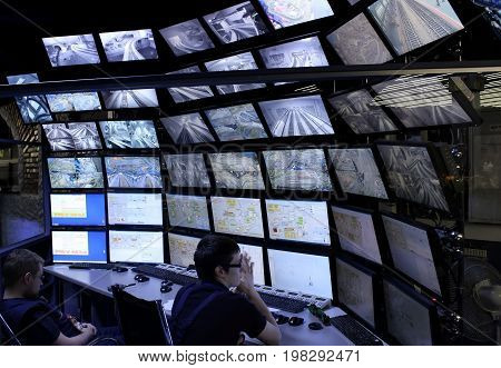 Saint-Petersburg Russia - January 03th 2015: Museum Grand Maket Rossiya - Dispatching console - CCTV.