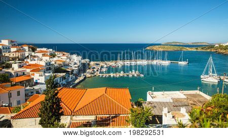 View of Marina at the Andros island, Aegean sea, Greece.