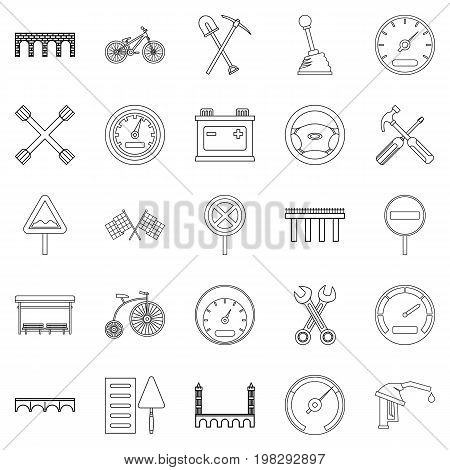 Roadbed icons set. Outline set of 25 roadbed vector icons for web isolated on white background