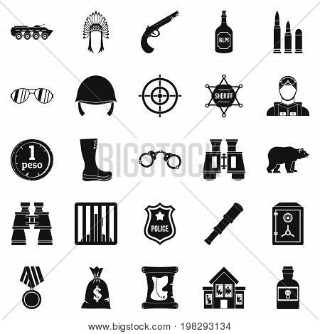 Shot icons set. Simple set of 25 shot vector icons for web isolated on white background