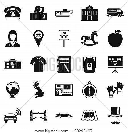 Autobus icons set. Simple set of 25 autobus vector icons for web isolated on white background