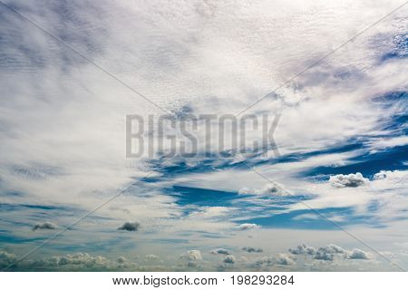 Fantastic soft white clouds against blue sky, natural composition