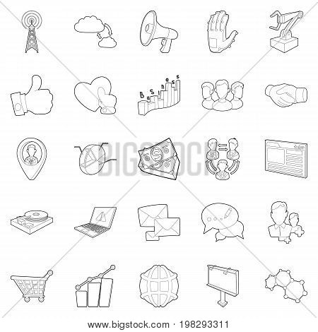Business scope icons set. Outline set of 25 business scope vector icons for web isolated on white background
