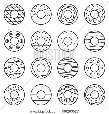 doughnut outline icon in various style, doughnut icon set