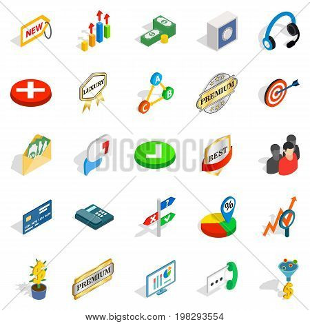 Finance center icons set. Isometric set of 25 finance center vector icons for web isolated on white background