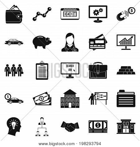 Working week icons set. Simple set of 25 working week vector icons for web isolated on white background