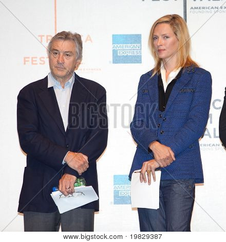 NEW YORK - APRIL 21 : Actor Robert De Niro  and Uma Thurman at Tribeca Film Festival opening April 21, 2009 in New York. The festival was founded in 2002 by Jane Rosenthal and Robert De Niro