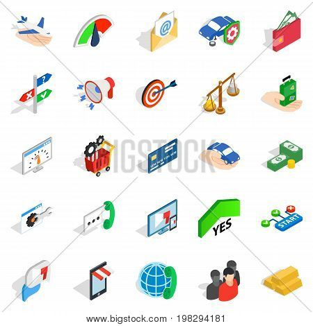 Business pay icons set. Isometric set of 25 business pay vector icons for web isolated on white background