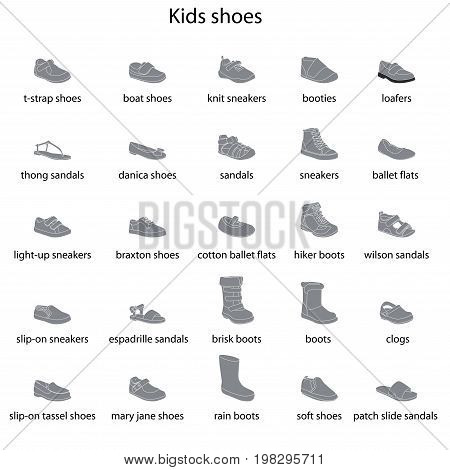 Kids shoes set collection of fashion footwear with names. Baby girl boy child childhood. Vector design isolated illustration. White outlines gray silhouettes white background