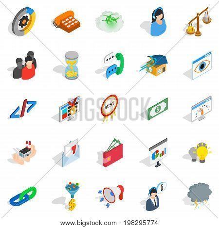 Conference center icons set. Isometric set of 25 conference center vector icons for web isolated on white background