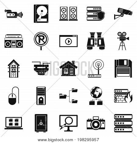 Surveillance icons set. Simple set of 25 surveillance vector icons for web isolated on white background