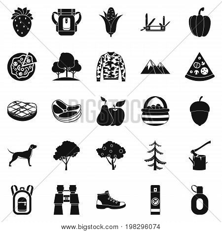 Wildlife icons set. Simple set of 25 wildlife vector icons for web isolated on white background