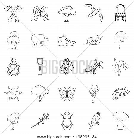 Dangerous territory icons set. Outline set of 25 dangerous territory icons for web isolated on white background