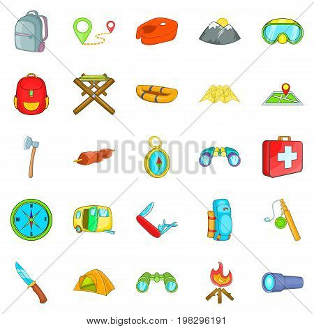 Wilderness icons set. Cartoon set of 25 wilderness vector icons for web isolated on white background