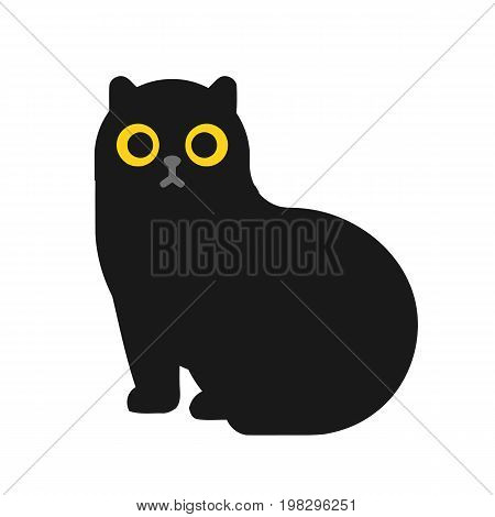 Black cute cat isolated on background. Black cat with yellow eyes. Vector stock.