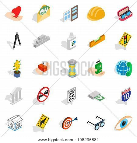 Worry icons set. Isometric set of 25 worry vector icons for web isolated on white background
