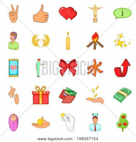 Care help icons set. Cartoon set of 25 care help vector icons for web isolated on white background