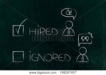 Hired Or Ignored Multiple Choice With Tick Next To Character With Thumbs Up