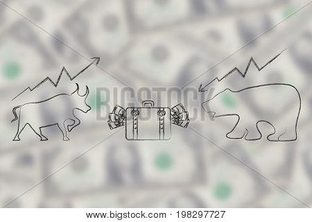 Stock Exchange Symbols Bull And Bear Facing Each Other With Bag Of Cash In Between Them
