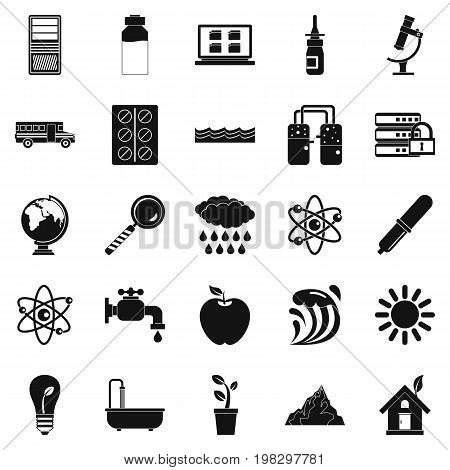 Chemical element icons set. Simple set of 25 chemical element vector icons for web isolated on white background