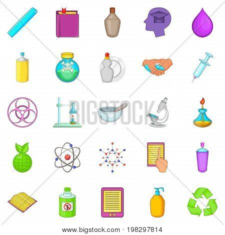 Chemical experience icons set. Cartoon set of 25 chemical experience vector icons for web isolated on white background