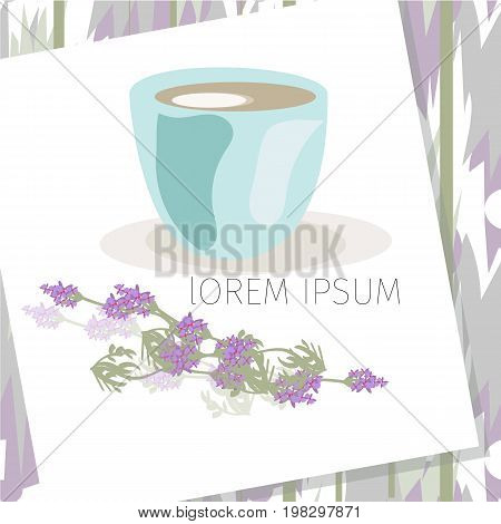 Frame with empty place for text or picture. White colored interior, with lavender flowers, Mock up.vECTOR