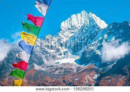 Mountain peak Everest. Everest highest mountain in the world. National Park Nepal