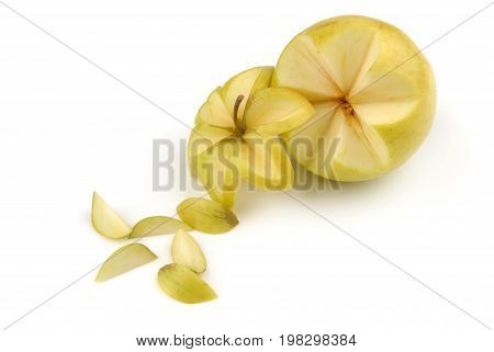 Carved apple isolated on white background, for decoration