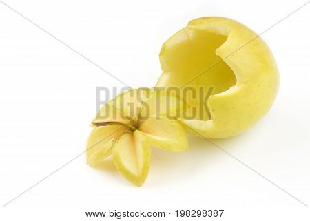 Carved hollow apple isolated on white background