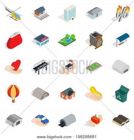 Urban infrastructure icons set. Isometric set of 25 urban infrastructure vector icons for web isolated on white background poster