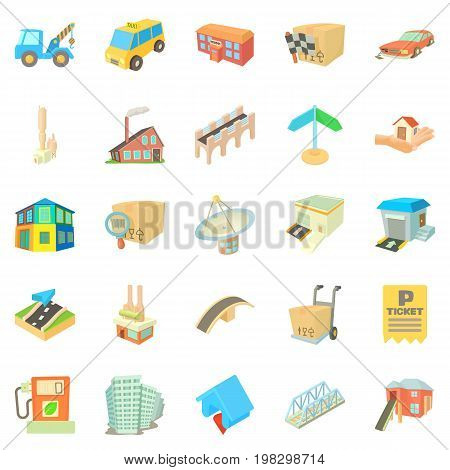 Urban elements icons set. Cartoon set of 25 urban elements vector icons for web isolated on white background