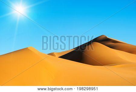 Moroccan desert landscape with blue sky. Sahara Desert. Morocco Africa
